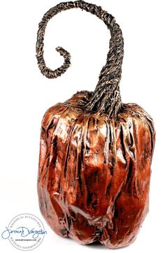 Classic Copper and Gold Paper mache pumpkin by sculpture artist Jessica Dvergsten.
