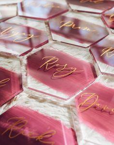 Hexagon Acrylic Place Cards Custom Painted Back First Epoxy Resin Art, Diy Resin Art, Diy Resin Crafts, Diy And Crafts, Ideas Joyería, Spring Wedding Colors, Wedding Table Settings, Setting Table, Table Wedding