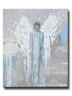 """ORIGINAL Angel Painting Abstract Male Guardian Angel Blue Grey Textured Home Decor Wall Art 20x24"""""""