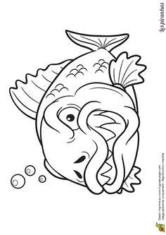 Fish Cartoon Drawing, Fish Drawings, Cartoon Drawings, Animal Drawings, Art Drawings, Adult Coloring, Coloring Pages, Fish Artwork, Jellyfish Art