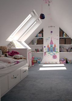 Below are the Attic Kids Room Decor Ideas. This post about Attic Kids Room Decor Ideas was posted under the … Attic Playroom, Attic Loft, Loft Room, Bedroom Loft, Garage Attic, Attic Library, Attic House, Attic Office, Attic Ladder
