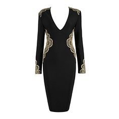wholesale 2018 New dress Black and red V-neck Long sleeves Tight sexy Fashion celebrity Cocktail party bandage dress Dress Suits, Red Lace, Cheap Dresses, New Dress, Winter Fashion, Street Wear, Clothes For Women, Cocktail, Celebrity