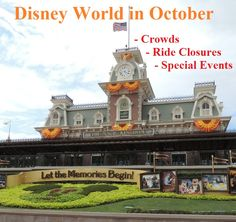 Disney World in October Crowd warnings, special events, and ride closure information in one easy list. Walt Disney World Rides, Disney World Vacation Planning, Disney World Florida, Disney Planning, Disney World Resorts, Disney Vacations, Disney Trips, Disney Parks, Disney Honeymoon