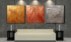 Original painting Gold Abstract Triptych by JuliaApostolova