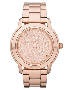 DKNY Watch, Women's Rose Gold Tone Stainless Steel Bracelet 44mm NY8475