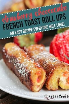 This Strawberry Cheesecake French Toast Rolls recipe is SO easy - resulting in a decadent breakfast treat, and very clean plates. Whip these up and watch them disappear! #breakfast #frenchtoast #recipe #kyleecooks
