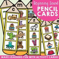 These pencil themed activity cards can be used in a variety of ways to reinforce beginning sounds {single alphabet sounds}! This packet includes 26 cards that can be used as write'n'wipe cards, 'clip' cards or with counters/chips! Recording worksheets and a cover