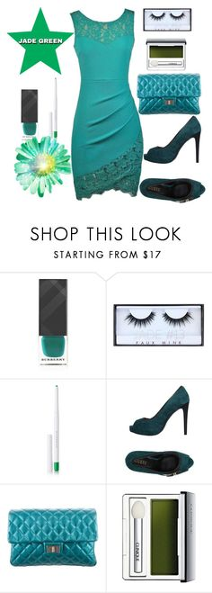 """""""Jade pencil dress"""" by greensparkle1 ❤ liked on Polyvore featuring Burberry, Huda Beauty, Givenchy, GUESS, Chanel and Clinique"""