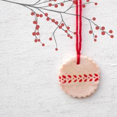 Pink and Red Ornament // Christmas Decoration // Salt Dough Ornament // Scalloped Circle // Stenciled // Beet Natural Dye
