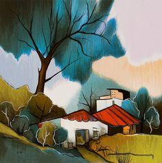 Austrian-Israeli ~ Itzchak Tarkay ~ Old Village