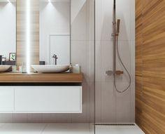 Colonne de rangement suspendu en chªne clair pour salle de bain 2
