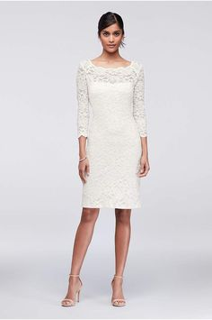 A timeless classic, a lace cocktail dress is always in fashion. This glitter lace version features a scalloped illusion neckline and sleeves. By Onyx Nites Nylon, polyester, spandex Pullover styling; White Bridal Dresses, Little White Dresses, Wedding Dresses, Simple Cocktail Dress, Cocktail Dresses With Sleeves, Different Dresses, Nice Dresses, Lace Sheath Dress, Event Dresses