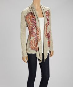 Look at this #zulilyfind! Oatmeal Floral Open Cardigan - Women by Earth Song. $17 !! #zulilyfinds