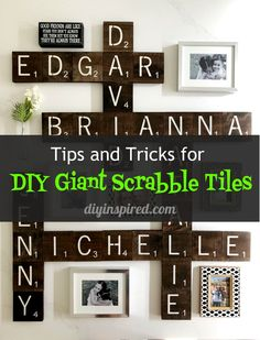 Tips, Tricks, Detailed Instructions, and Video Instructions for DIY Scrabble Tile Wall Art. Everything you need to know to make your own custom wall design. Giant Scrabble Tiles, Scrabble Tile Wall Art, Varathane Wood Stain, Diy Wood Stain, Wall Design, Diy Design, Traditional Tile, Custom Wall, Diy Wall Art