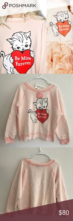Wildfox Valentine's sweater Brand new with tags, never worn. Soft and plush sweater, perfect for Valentine's Day! Retails for $108 + tax. No longer available or sold on their website. Fleece material. 70% cotton, 30% polyester. 100% authentic Wildfox of course! Wildfox Sweaters
