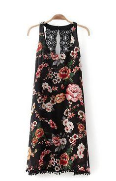 Perfect! O-neck Sleeveless Back Holloe-out Chiffon Floral Dress