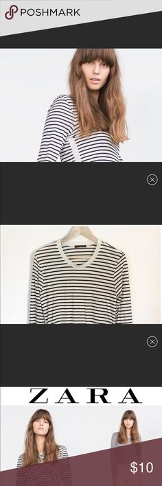 Zara Striped Long Sleeve Tee Zara striped long sleeve tee. Medium. Round collar. Color: White / navy blue. Hem line is rounded so the front and back are longer than the sides. Worn few times, in EXCELLENT condition!! Zara Tops Tees - Long Sleeve