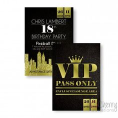 Elegant Black & Gold VIP Themed Double Sided Personalised Birthday Invitations - From as little as per card - Including free envelopes and delivery on all orders! Personalized Invitations, Personalized Items, Vip Pass, Birthday Invitations, Rsvp, Birthday Parties, Envelopes, Black Gold, Cards