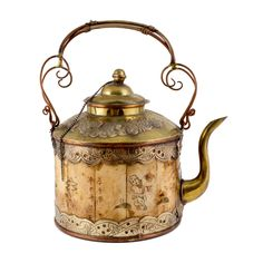 Artfully crafted in brass and beautifully detailed bone with scrimshaw drawings, this vintage teapot discovered during our recent time in Cambodia makes for a beautiful tabletop display. Just this one