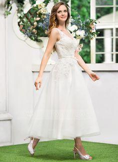 A-Line/Princess V-neck Tea-Length Tulle Lace Wedding Dress With Bow(s) (002052767)