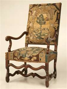 """jacobean upholstered chair... very similar to the 2 we call """"Bishop's Chairs"""" from Daddy Mac... calling them Jacobean makes since with his Scots heritage :)"""