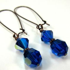 Cobalt Blue Earrings Swarovski Crystals and Copper. $18.00, via Etsy.
