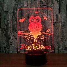 Halloween Owl 7 Colors Changing Night Light