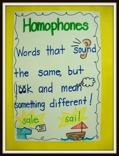 Homophones anchor chart  Today in First Grade...: printable