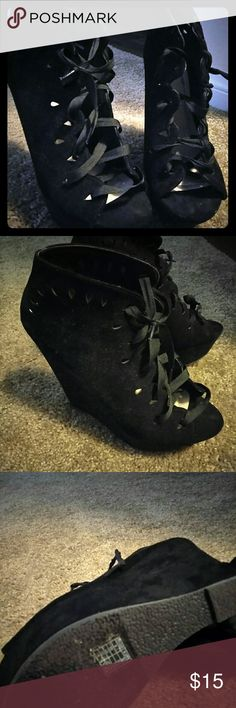 Black lace up wedges Super cute lace up wedges with open toe! Only wore a few times. Shoes Wedges