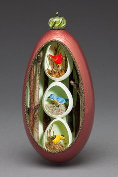a window to life Egg Tree, Bird Tree, Types Of Eggs, Carved Eggs, Fairy Furniture, Egg Designs, Egg Crafts, Funky Art, Faberge Eggs