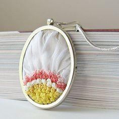 Love her beautiful Silk Ribbon Embroidery Jewelry!