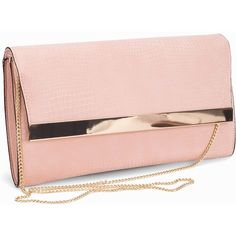 New Look Pink Snakeskin Textured Clutch (960 PHP) ❤ liked on Polyvore featuring bags, handbags, clutches, accessories, nude, womens-fashion, nude purses, snakeskin purse, chain purse and nude handbags