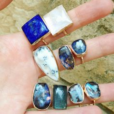 Shop Gemstone Jewelry at www.elizapage.com #gold and #silver #gemstone #rings #lapis #moonstone #opals #labradorite #handcrafted #jewelry