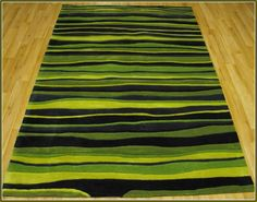 Striped Black And Green Area Rug