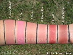 Bobbi Brown, blush, swatches, Desert Rose, Peony, Slopes, Desert Pink, Poppy, Cranberry