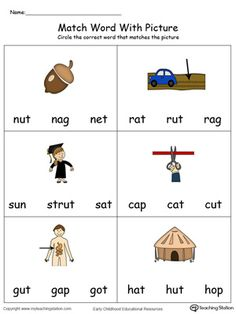 Match Word with Picture: UT Words in Color. Identifying words ending in –UT by matching the words with each picture. English Worksheets For Kindergarten, Homeschool Worksheets, Kindergarten Goals, English Grammar For Kids, Learning English For Kids, English Phonics, Phonics Reading, Reading Tutoring, Esl Lessons
