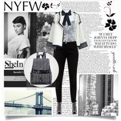 NYFW 2016 Black and white outfit Polyvore set elegant