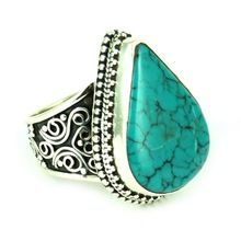 Protection Amulets Turquoise Oxidized 925 Sterling Silver Ring, Fashion Silver Jewellery, 925 Silver Jewelry
