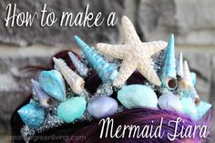 How to Make a Stunning Mermaid Tiara ~ Creative Green Living - Click thru for the full tutorial for this Halloween costume DIY idea using the Martha Stewart Crafts line Mermaid Tiara, Mermaid Headpiece, Mermaid Crown, Mermaid Princess, Little Mermaid Birthday, Little Mermaid Parties, The Little Mermaid, Mermaid Crafts, Mermaid Diy