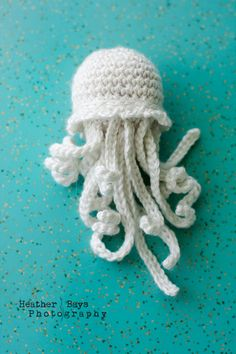 I want a whole SMACK for my bathroom! =D     Jellyfish Glow In The Dark Crocheted Sea Creature by HeatherBays.