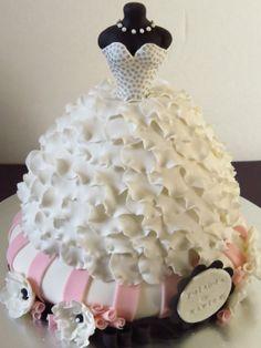 Bridal Gown Dress Cake by MaddysSugarArt on Etsy, $350.00