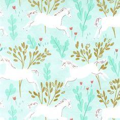 MD7191 unicorn forest cotton metallic magic sarah jane whimsical fairy tale unicorns make believe leaves aqua turquoise
