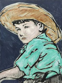 DAVID BROMLEY Children Series  Young Boy  Polymer on Canvas 40cm x 30cm