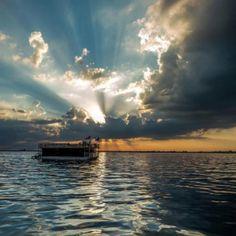 Beautiful sunset on the water.