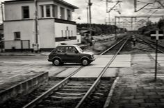 Car crossing railroad - Poland Taking Pictures, Poland, Car, Automobile, Cars, Autos