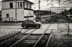 Car crossing railroad - Poland