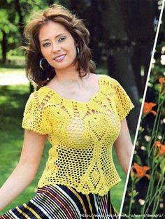Scorzo Tricroche: Blusa em crochê com pala de abacaxi