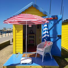 Today the sky was as blue as my beach hut! Beach Hut Shed, Beach Huts, Playhouse Decor, Pump House, Coney Island, Play Houses, Sheds, House Ideas, Happiness