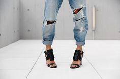 ripped boyfriends + edgy heels