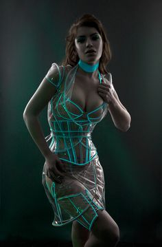 Glowing trim Clear vinyl Underbust corset -- really cool!!